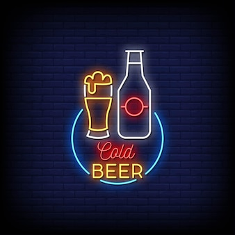 Kaltes bier logo neon signs style