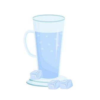 Kaltes mineralwasserkarikaturillustration hohe tasse mit flüssigem flachem farbobjekt sprudelndes wasser im glas tonischer cocktail für heißen sommer erfrischendes sommergetränk lokalisiert auf weißem hintergrund
