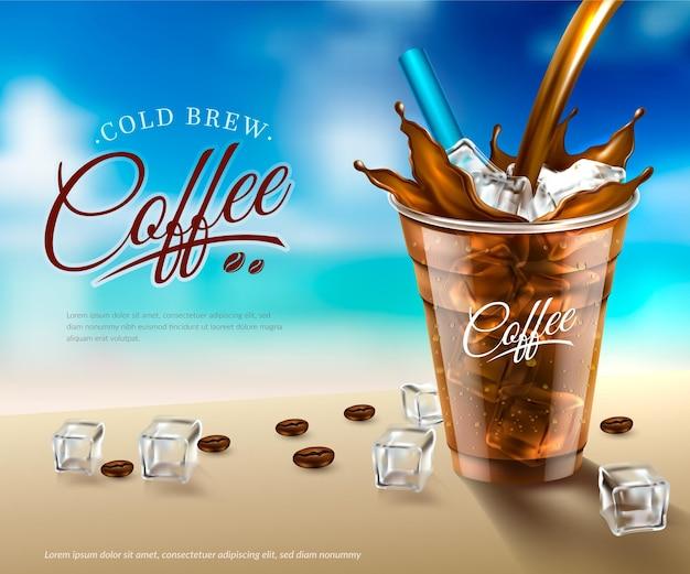 Kaltgebrühte kaffeeanzeige des realistischen entwurfs