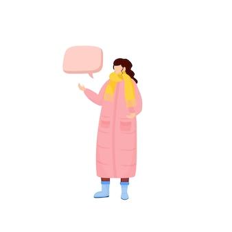 Kaltwetter outfit farbe gesichtslosen charakter. frau im wintermantel mit schal. person mit sprechblasen-cartoonillustration für webgrafik und animation