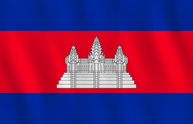 Kambodscha-flagge mit wehender wirkung, offizieller anteil.