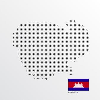 Kambodscha-kartenentwurf mit flaggen- und hellem hintergrundvektor