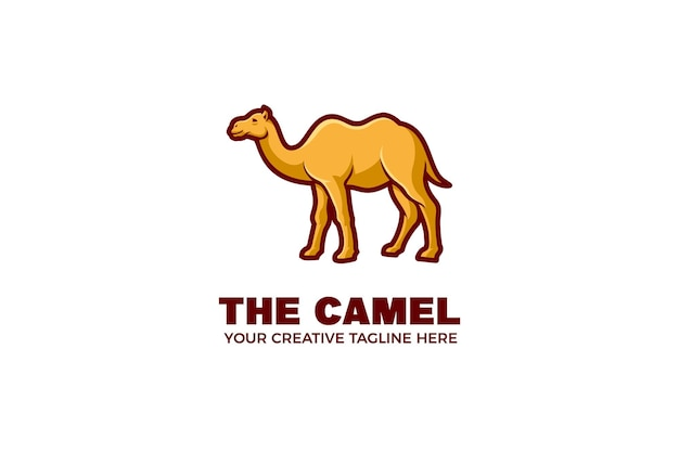 Kamel-karikatur-maskottchen-logo-vorlage