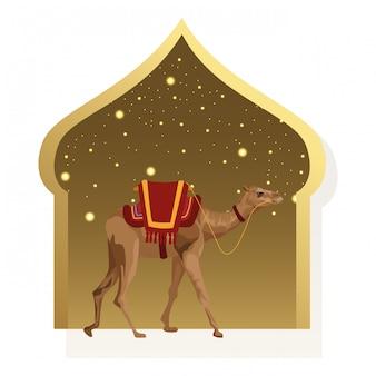 Kamel mit sattlerwarenikonenkarikatur