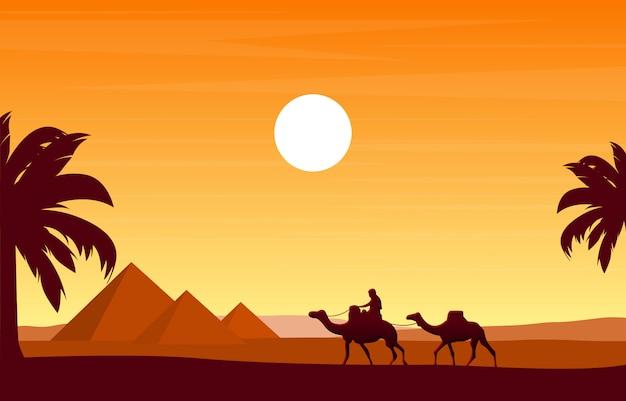 Kamelkarawane, die ägypten-pyramiden-wüsten-arabische landschaftsillustration kreuzt