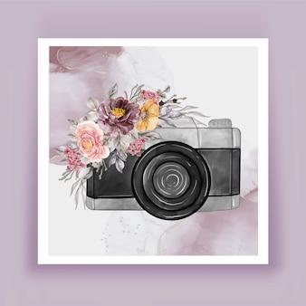 Kamera aquarell mit blumen lila rosa