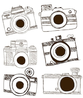 Kamera doodle vektor.