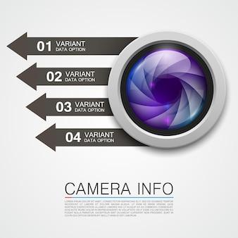 Kamera-info-banner-kunst kreativ. vektor-illustration