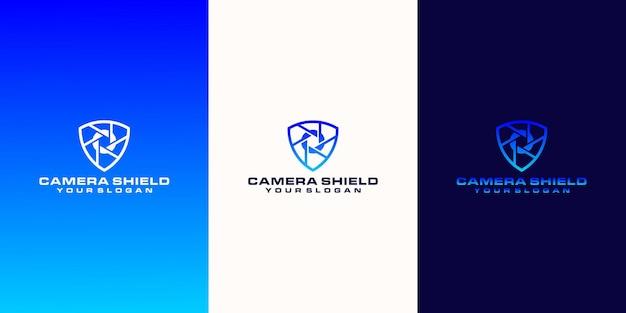 Kamera-logo und sicherheitskonzept mit umrissstil