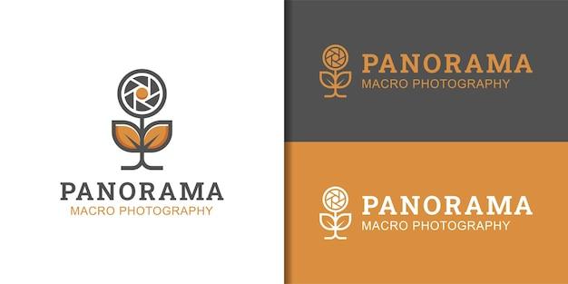 Kamera-makrofotografie mit sonnenblumen-logo-design für verschlussblume und außenansicht