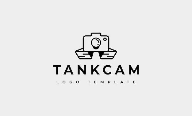 Kamera-militärpanzer-logo-design-vektor-illustration