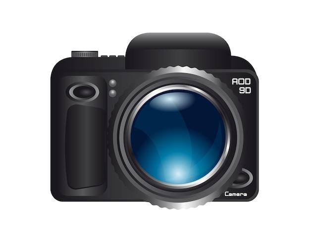 Kamera mit blauem zoom-objektiv isoliert