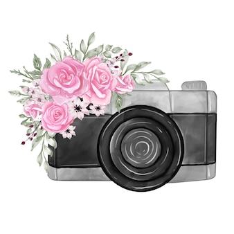 Kamera mit rosa farbe der aquarellblumenillustration