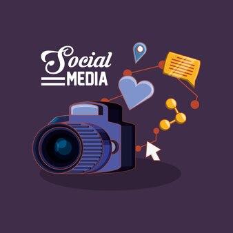 Kamera mit social media verwandten icons