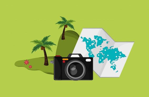 Kamera mit urlaubsreise-ikonenbild