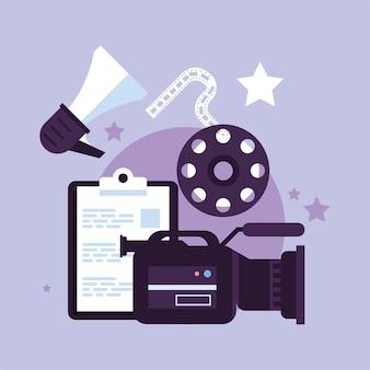 Kamera mit videoproduktionsset-icons