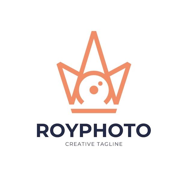 Kamera-shutter-fotografie mit königlicher kronenlogoikoneninspiration