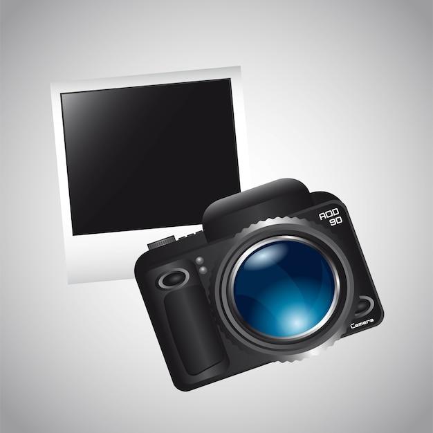 Kamera und foto mit grauer hintergrundvektorillustration