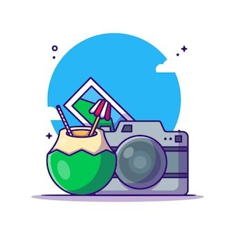 Kamera und kokosnuss-cartoon-illustration