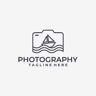 Kamera und segelboot, fotografie-logo-idee,