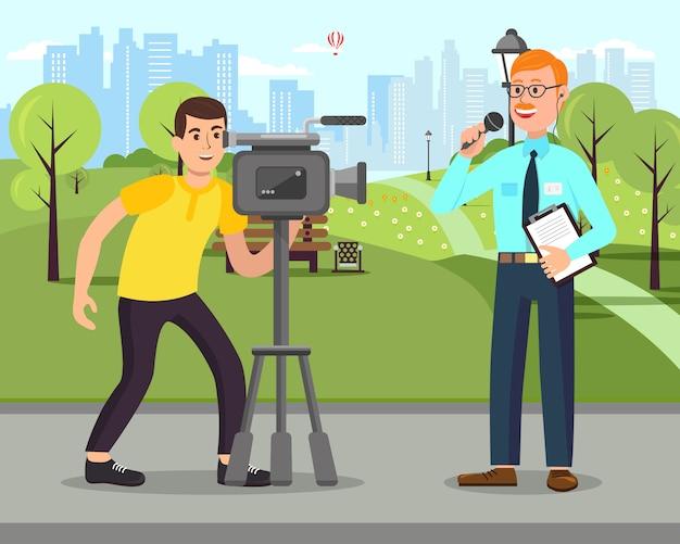 Kameramann mit kamera. journalist mit mikrofon.