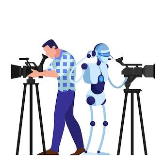 Kameramann und roboter schießen film. videogeräte, fernsehberuf. künstliche intelligenz. illustration