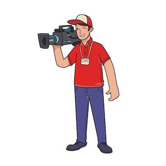 Kameramann, videograf. der mann mit der videokamera. karikaturillustration lokalisiert auf weiß