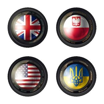 Kameraobjektiv flagge