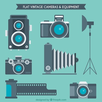 Kameras und geräte in flacher bauform Kostenlosen Vektoren