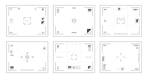 Kamerasucher. dslr ui schnittstellenschablone mit piktogrammen linsenfokussierter videosvektorsammlung