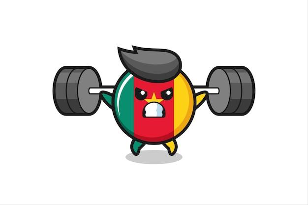 Kamerun flagge abzeichen maskottchen cartoon mit einer langhantel, süßes design für t-shirt, aufkleber, logo-element