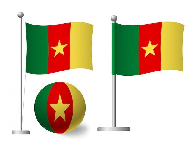 Kamerun flagge auf stange und ballikone