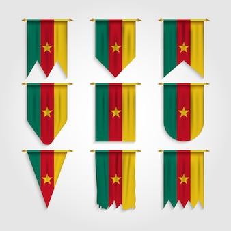 Kamerun flagge in verschiedenen formen, flagge von kamerun in verschiedenen formen