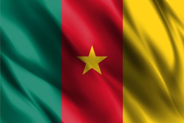Kameruner flagge, der abstrakten hintergrund winkt