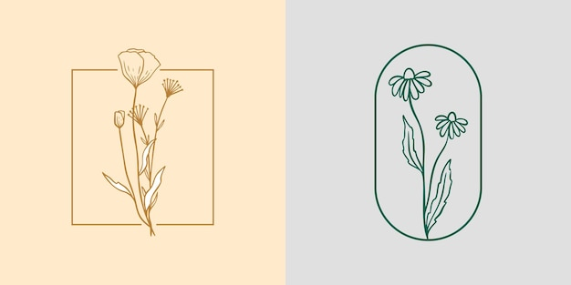 Kamille und mohn-symbol-logo-set. wildblumen lineare etikettenskizze. daisy-frame-emblem für das branding. umreißen sie vintage handgezeichnete kräuter. moderner schlichter stil. vektorillustration lokalisiert auf hintergrund.