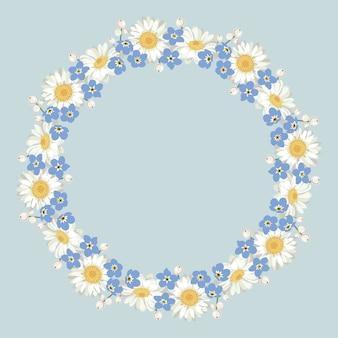 Kamille und vergissmeinnichtmuster auf blauem hintergrund. daisy-chain. runder rahmen