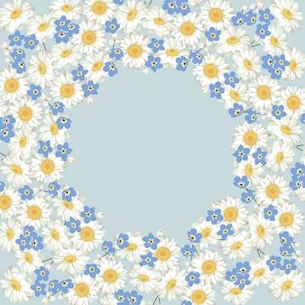 Kamille und vergissmeinnichtmuster auf blauem hintergrund. gänseblümchenfeld. runder rahmen