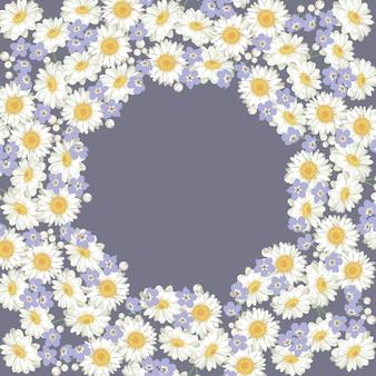 Kamille und vergissmeinnichtmuster auf violettem violettem hintergrund.