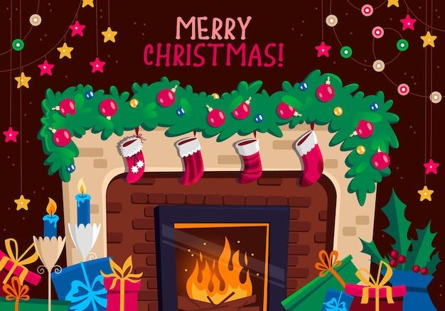 Kamin mit roten strümpfen geschenken und dekorationen im innenraum weihnachts- und neujahrsgrußkarte