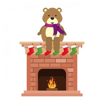 Kamin mit teddy weihnachtsdekoration
