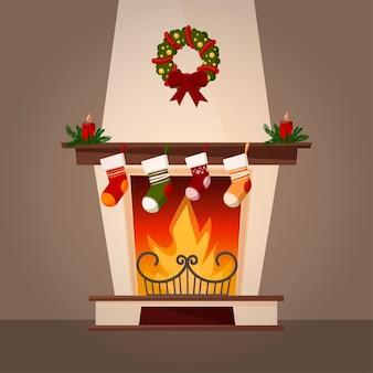 Kamin und weihnachtsdekoration. Premium Vektoren
