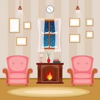 Kamin-wohnzimmer-familienhaus-innenmöbel-vektor-illustration