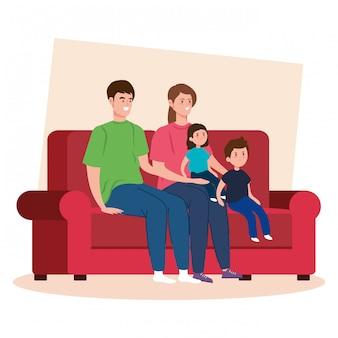 Kampagne bleiben zu hause mit der familie im wohnzimmer