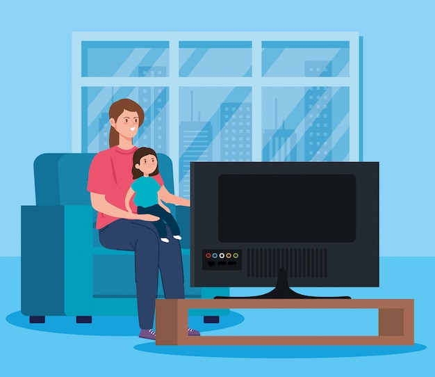 Kampagne bleiben zu hause mit mutter und tochter vor dem fernseher