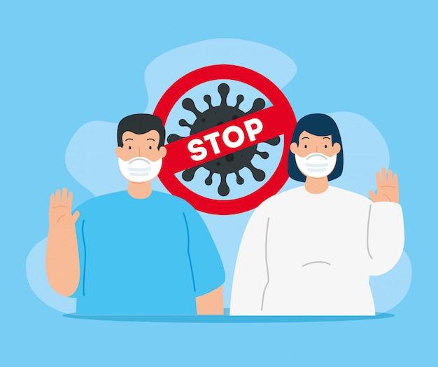 Kampagne des stopps mit paar mit gesichtsmaske