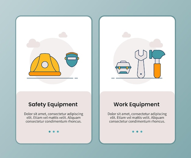 Kampagne für sicherheitsausrüstung arbeitsausrüstung für das onboarding mobiler apps vorlage