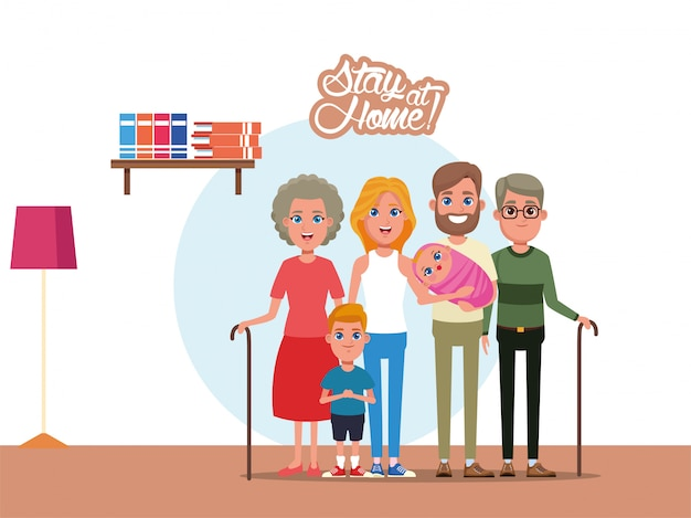 Kampagne mit familienmitgliedern zu hause bleiben