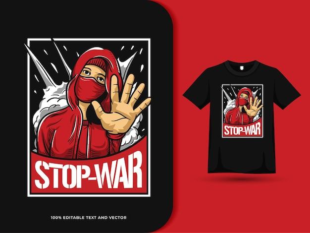 Kampagne, um das kriegsplakat auf dem t-shirt-design zu stoppen