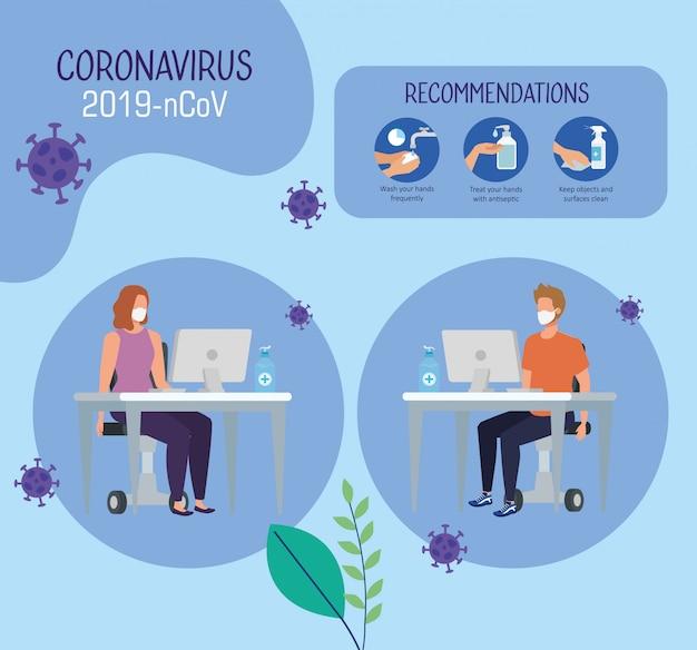 Kampagne von empfehlungen von 2019-ncov im büro mit geschäftspaar und ikonenvektorillustrationsdesign