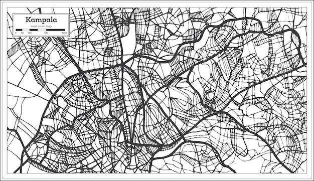 Kampala-uganda-karte in schwarz-weiß-farbe